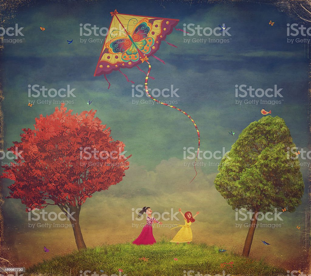 Young girls  among   trees on the field  with  kite vector art illustration