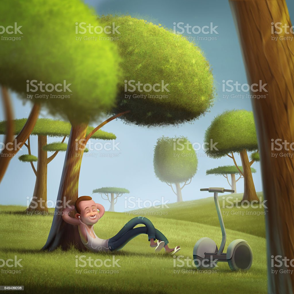 Young hipster segway sunny green lawn illustration vector art illustration