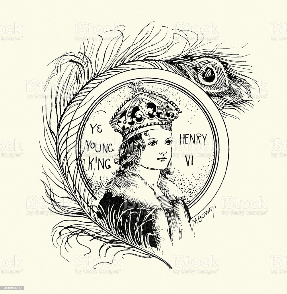 Young King Henry VI of England vector art illustration