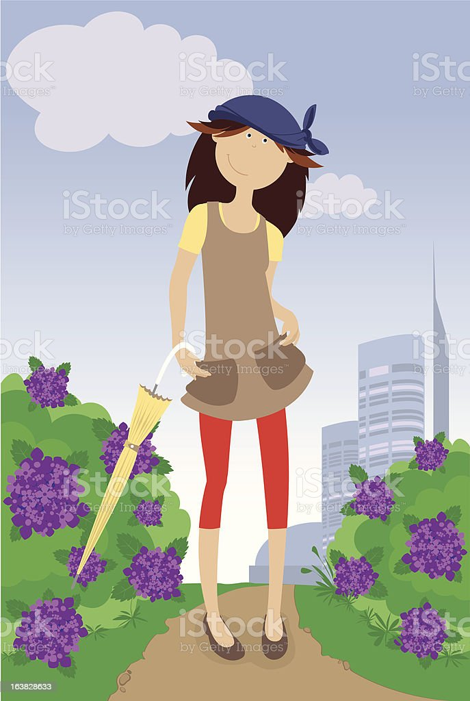 Young lady in the park. royalty-free stock vector art