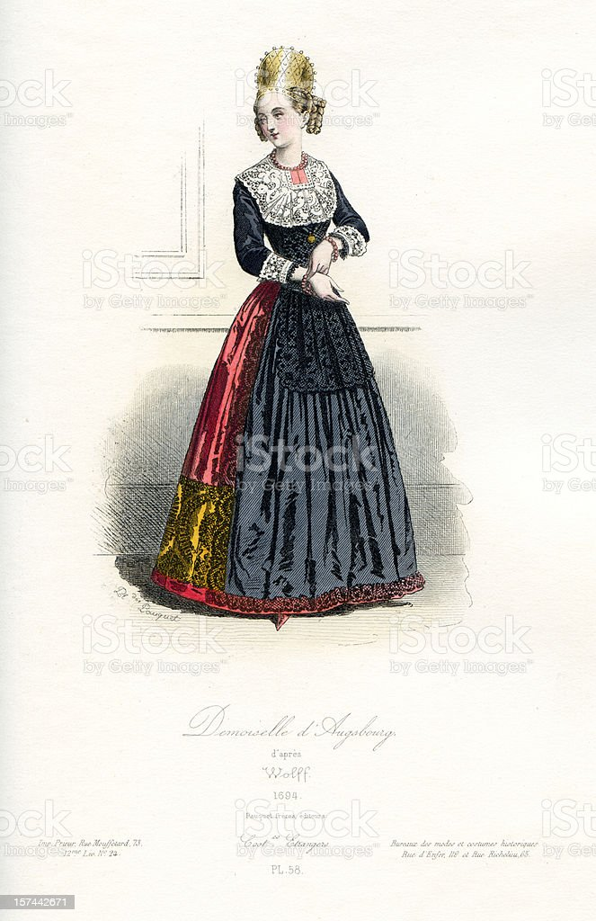 Young Lady of Augsburg Period Costume royalty-free stock vector art