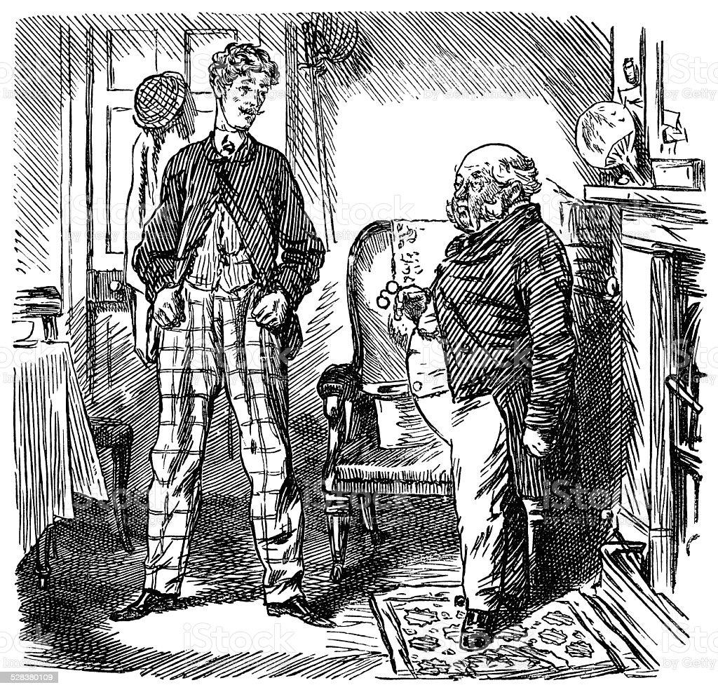 Young man annoying an older man vector art illustration