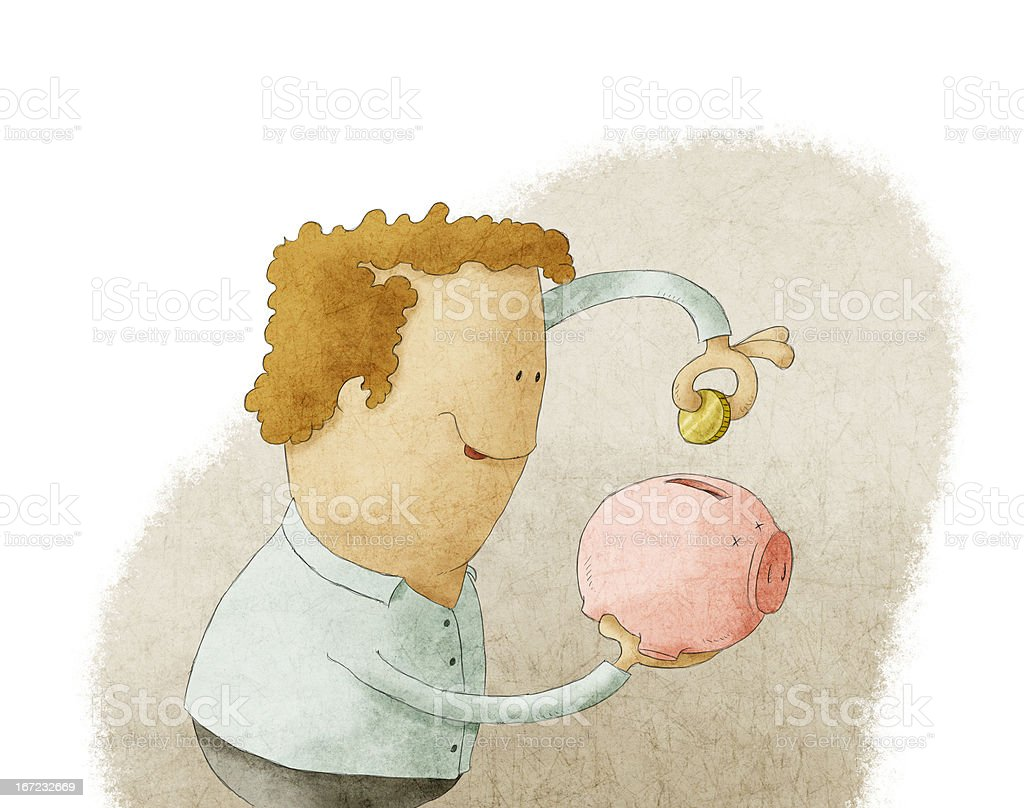 Young man putting coin into a piggy bank royalty-free stock vector art