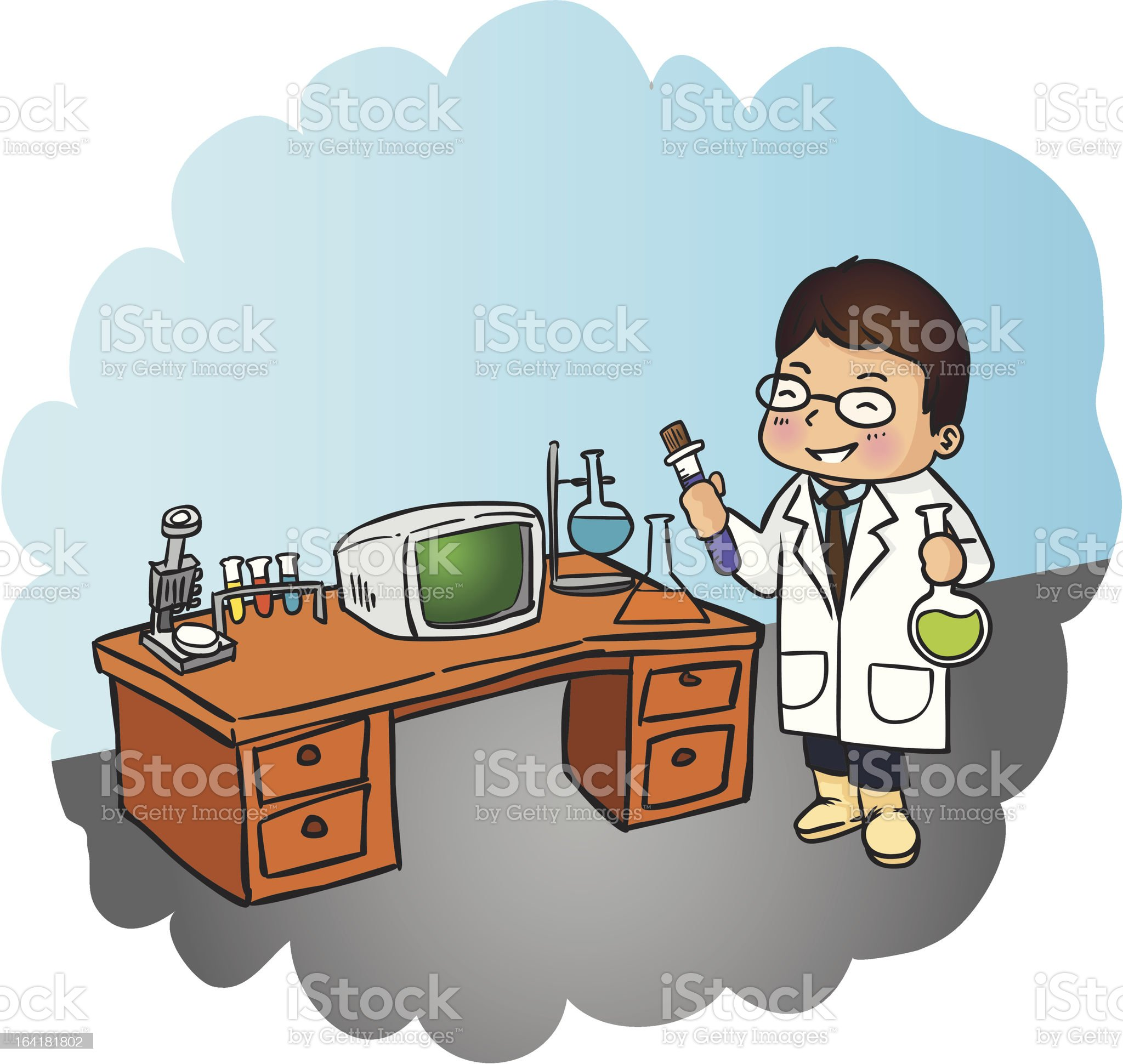 Young man working with pipette in the laboratory royalty-free stock vector art