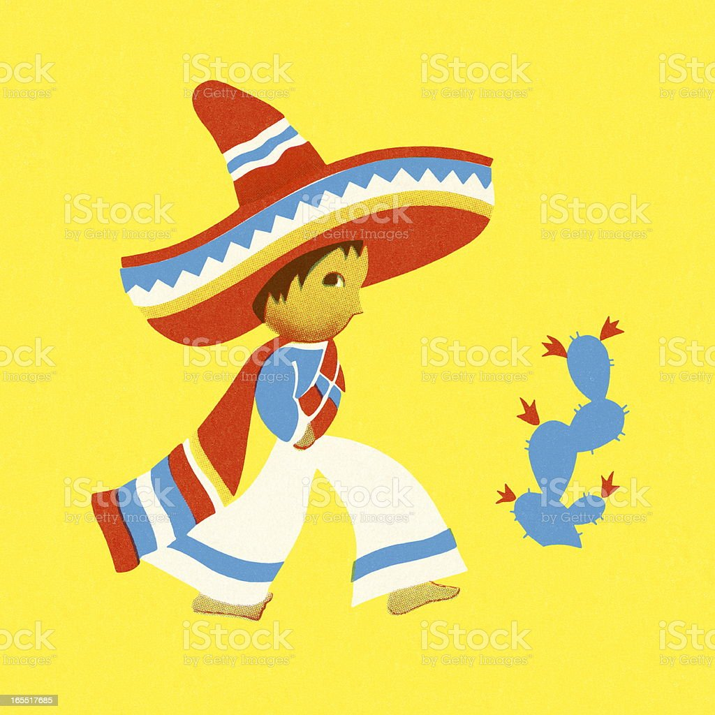 Young Mexican and a Cactus royalty-free stock vector art