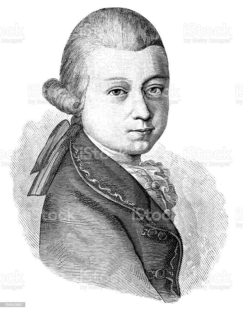 Young Mozart - Antique Engraved Portrait vector art illustration