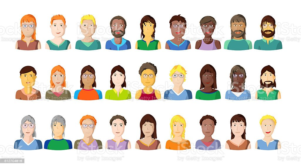 Young people portraits on white background, comic characters vector art illustration
