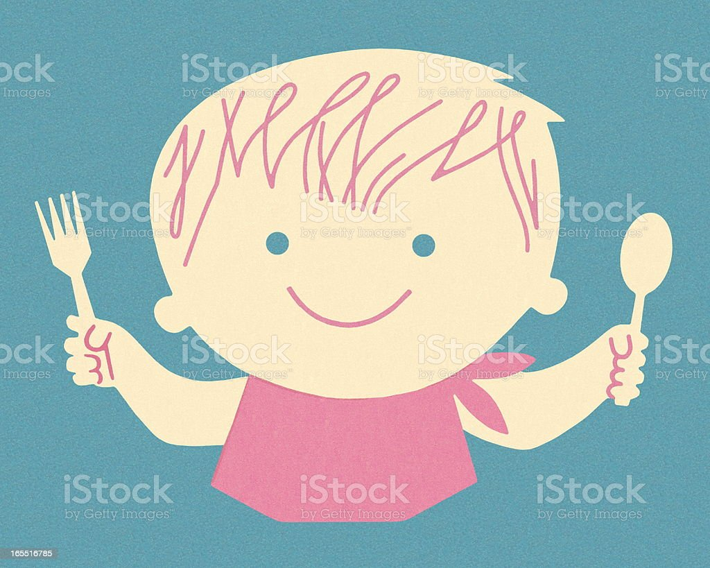 Young Person Ready to Eat royalty-free stock vector art