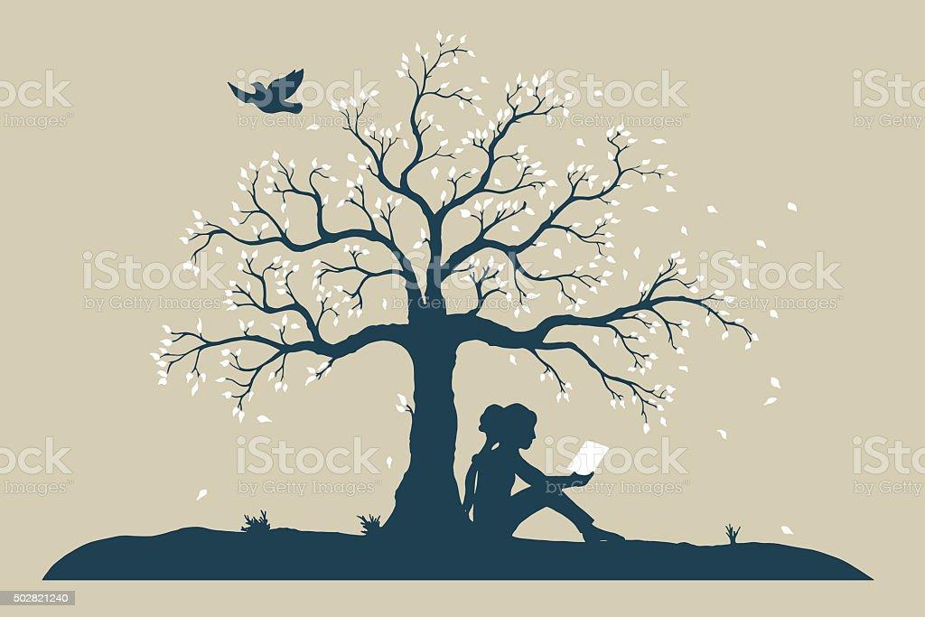 young reading girl under tree vector art illustration