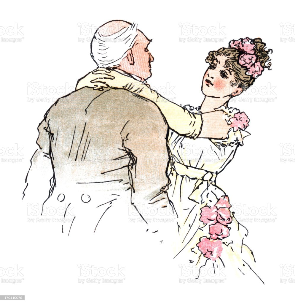 Young Regency era woman embracing an older man vector art illustration