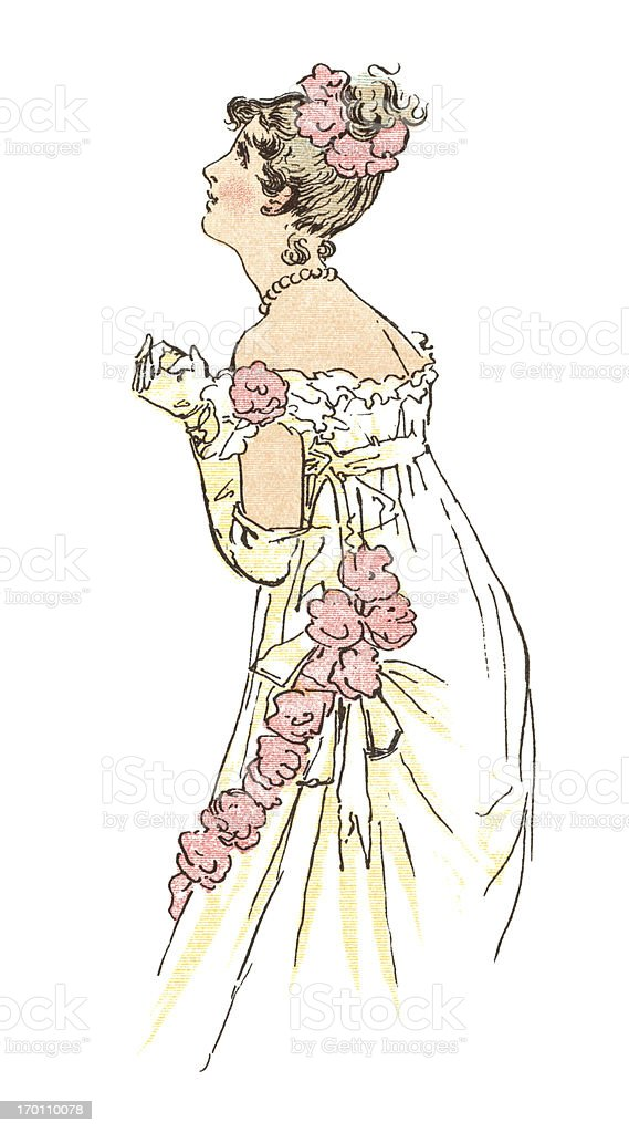 Young Regency era woman with clasped hands vector art illustration