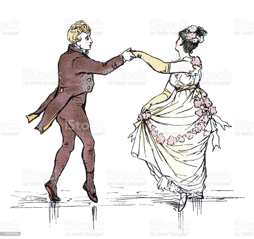 Young Regency style couple dancing vector art illustration