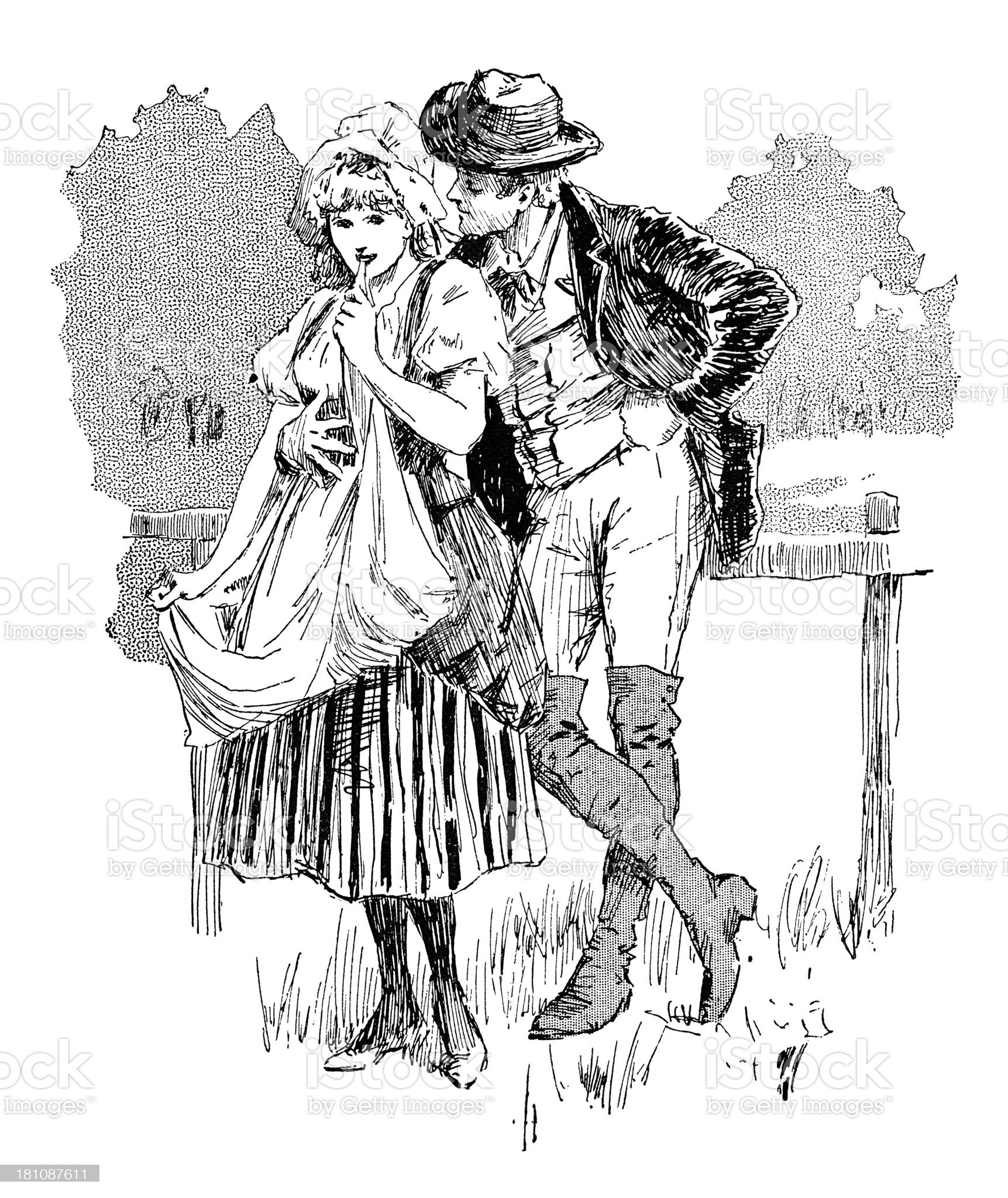 Young rural Victorian couple in love royalty-free stock vector art
