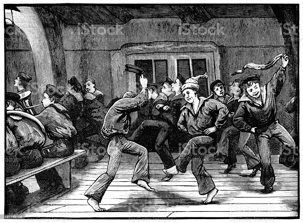 Young sailors dancing on board ship (Victorian engraving) vector art illustration