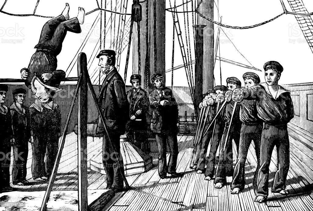 Young sailors practising with swords and doing gymnastics (Victorian engraving) vector art illustration