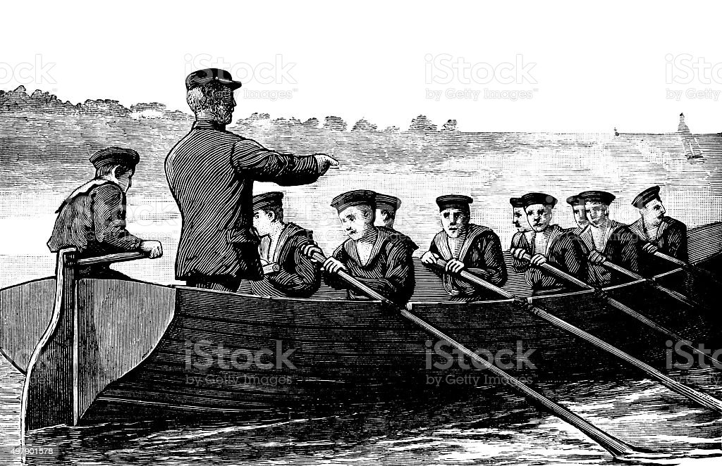 Young sailors rowing a boat (Victorian engraving) vector art illustration