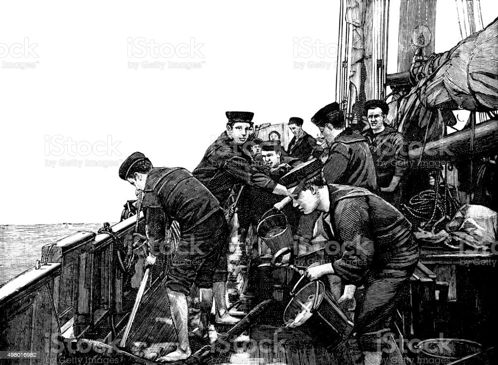 Young sailors working on deck (Victorian engraving) vector art illustration