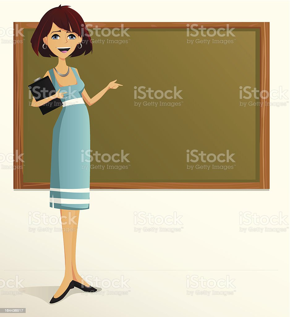 Young teacher pointing at board. royalty-free stock vector art