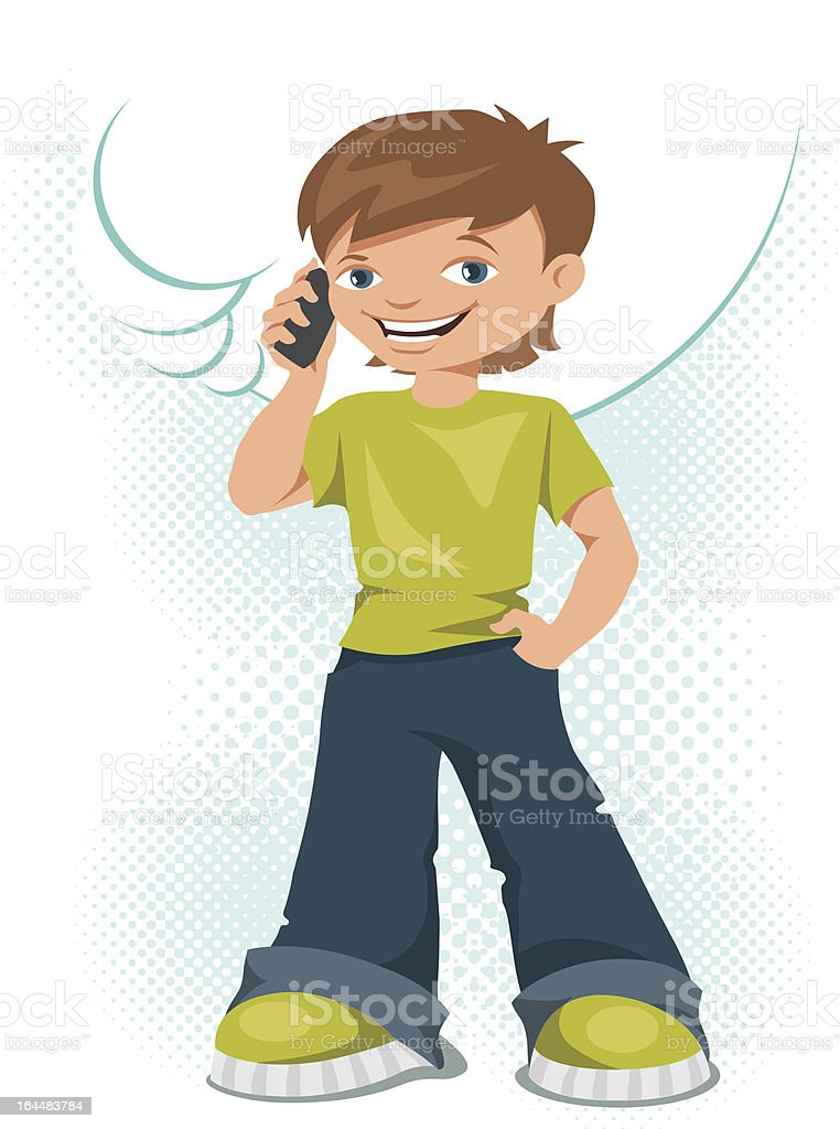 Young teen boy talking on his mobile phone. royalty-free stock vector art