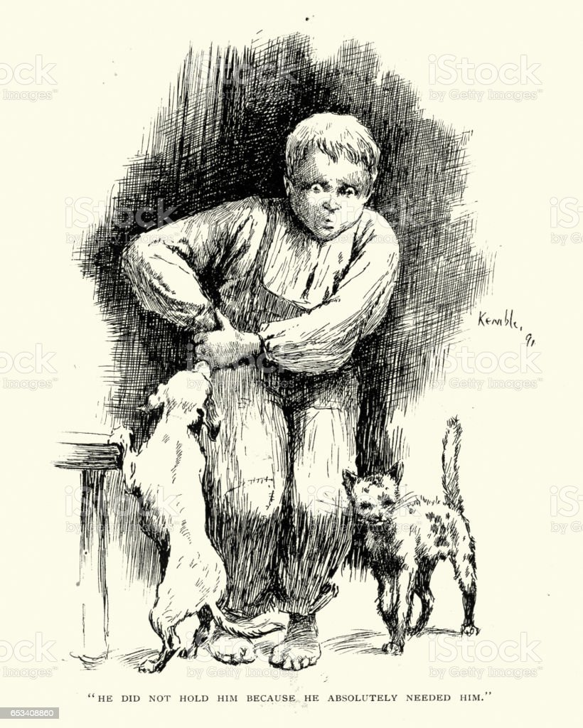 Young victorian boy with his pet dog and cat vector art illustration