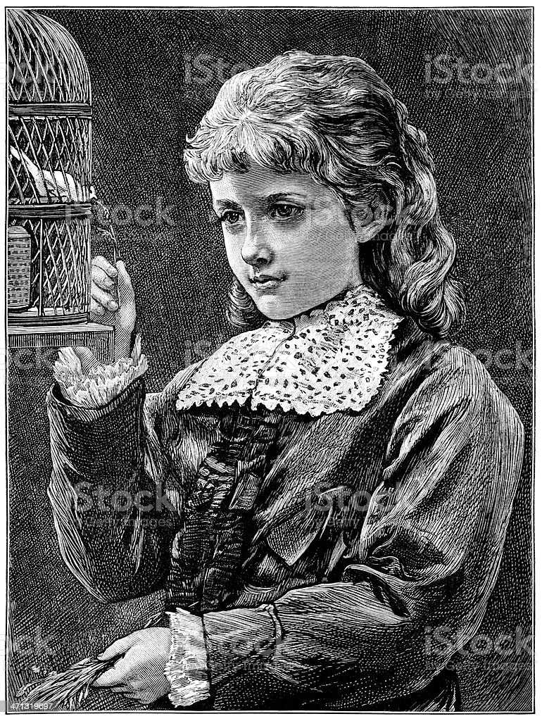 Young Victorian girl feeding grass to a caged canary vector art illustration