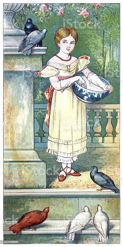 Young Victorian girl feeding pigeons vector art illustration