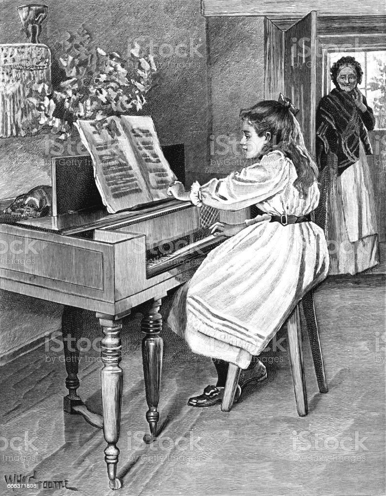 Young Victorian girl playing the piano vector art illustration