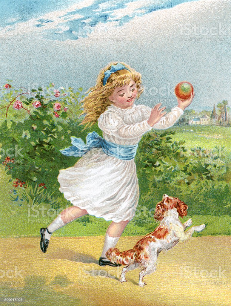 Young Victorian girl playing with a dog and a ball vector art illustration