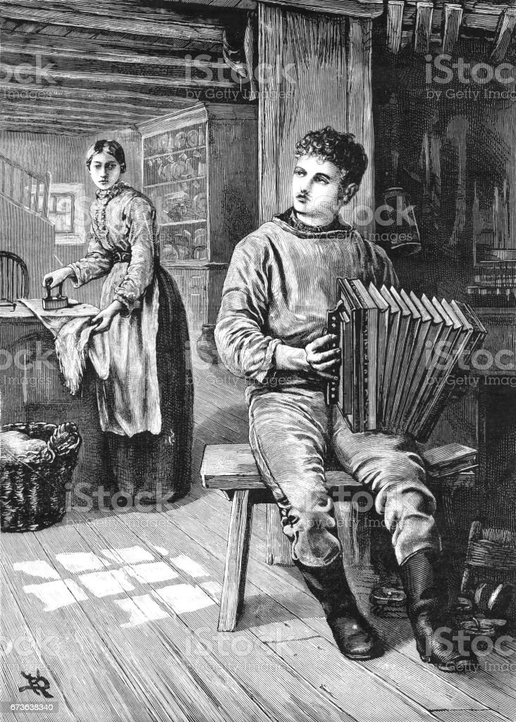 Young Victorian man playing an accordion in his home vector art illustration