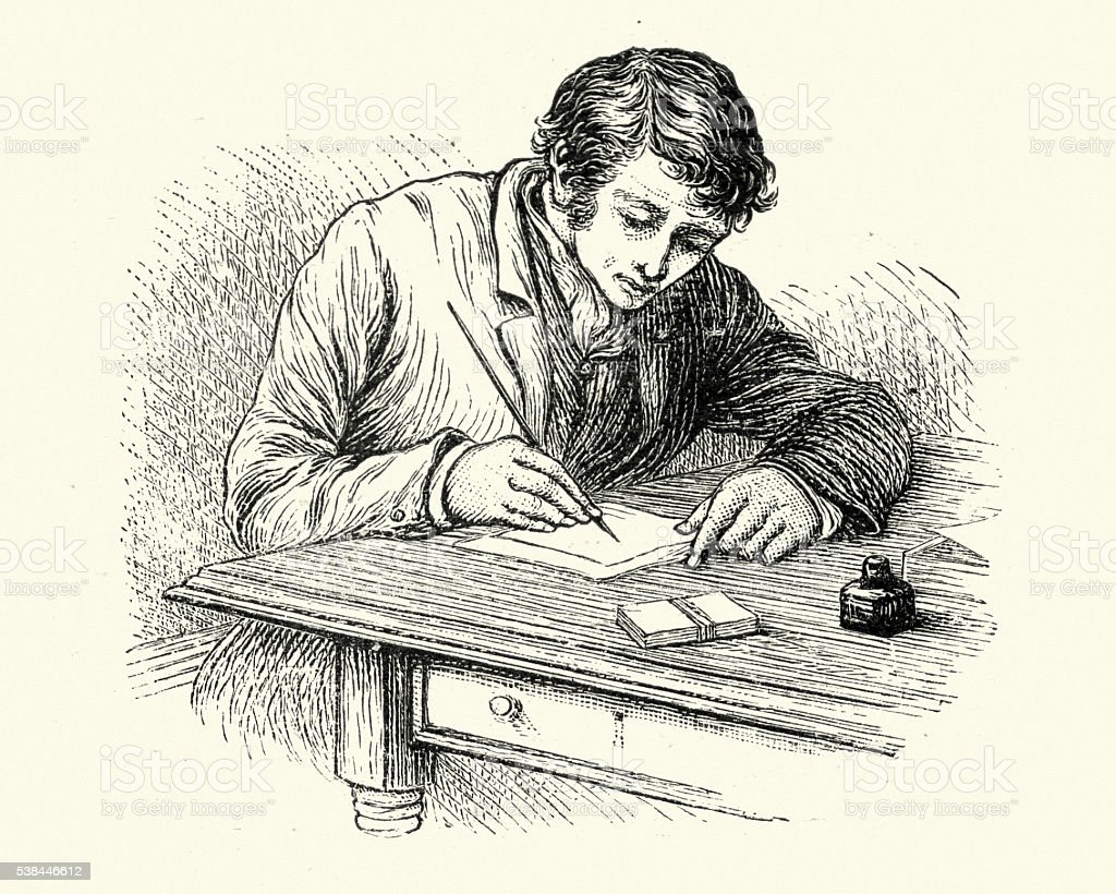 Young victorian man writing a letter vector art illustration