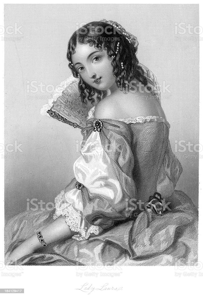 Young Victorian Woman vector art illustration