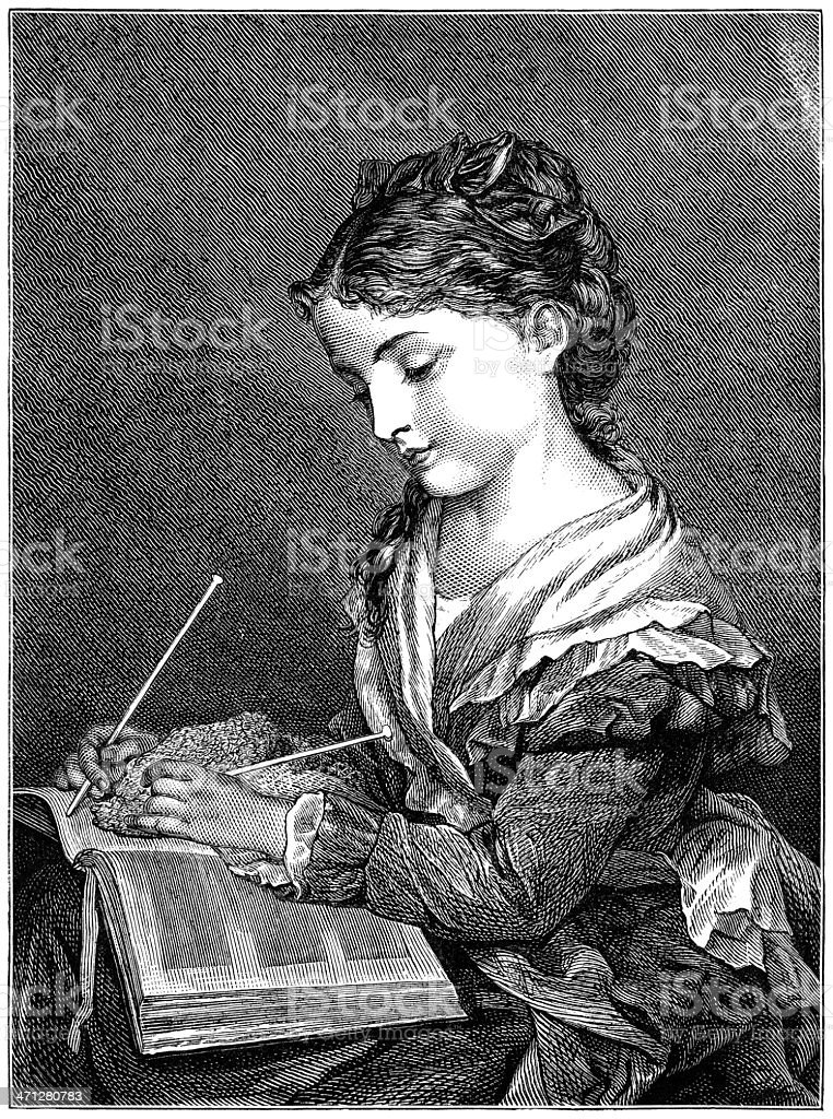 Young Victorian woman knitting and reading at the same time vector art illustration