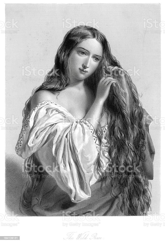 Young Victorian Woman - The Wild Rose royalty-free stock vector art