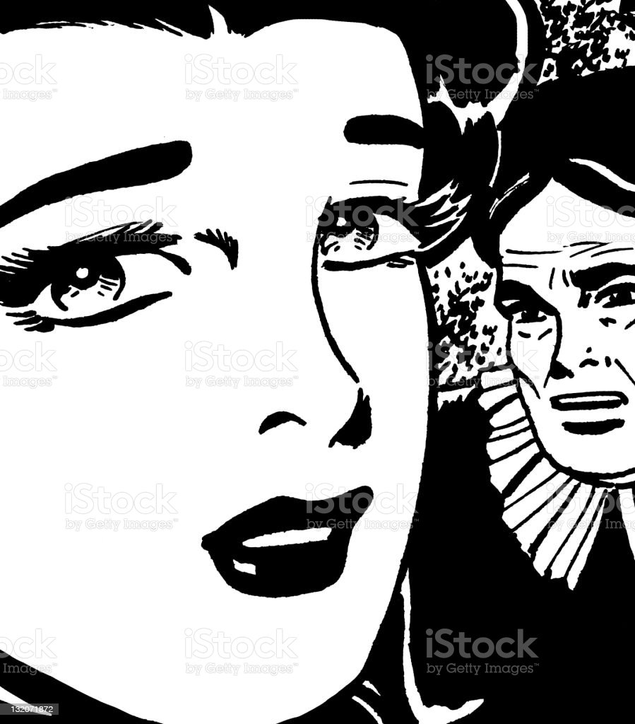 Young Woman and Old Woman vector art illustration