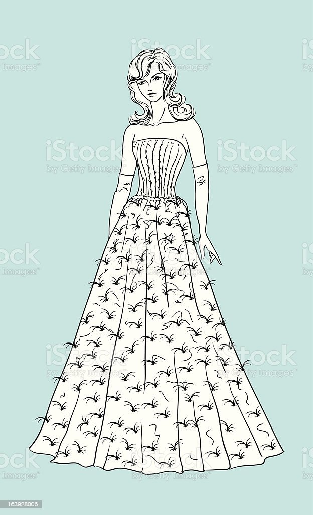 Young woman in a wedding dress royalty-free stock vector art