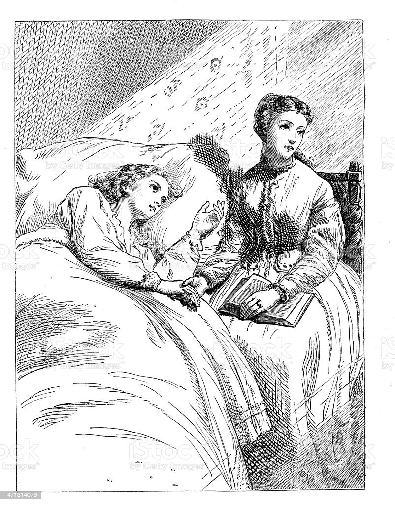 young woman in death bed  friend at bedside 1867 magazine royalty-free stock vector art