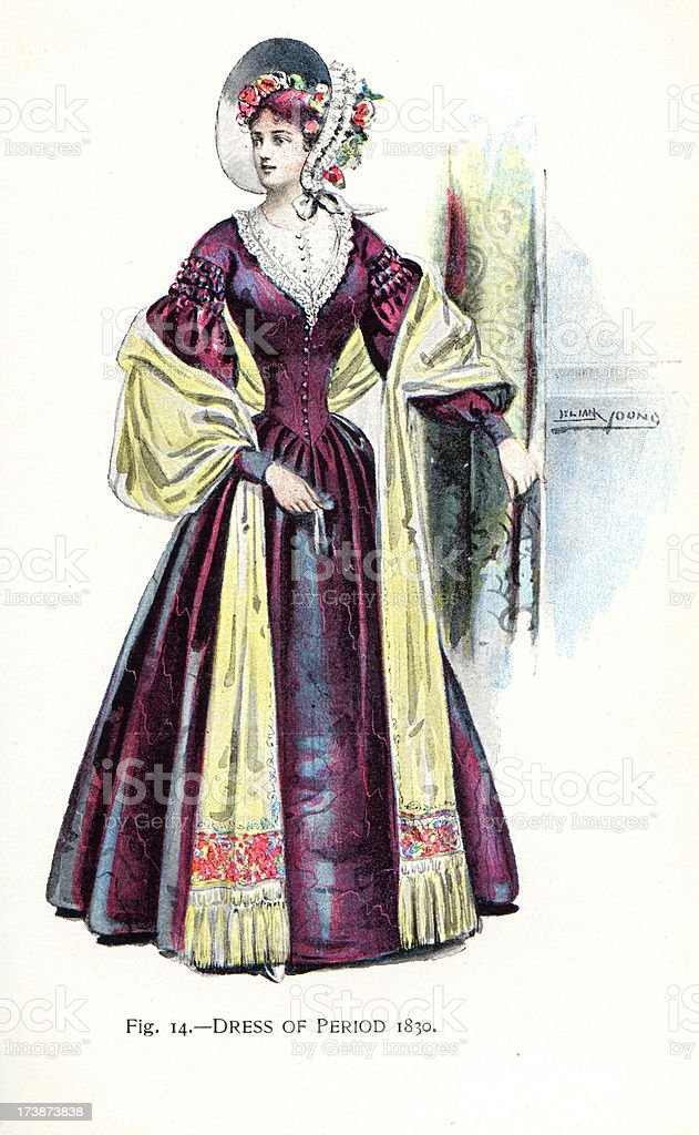 Young Woman in dress from the 1830s royalty-free stock vector art