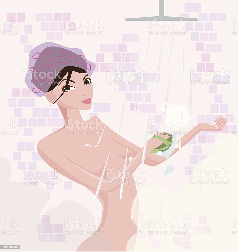 Young woman in shower with steam and bubbles royalty-free stock vector art