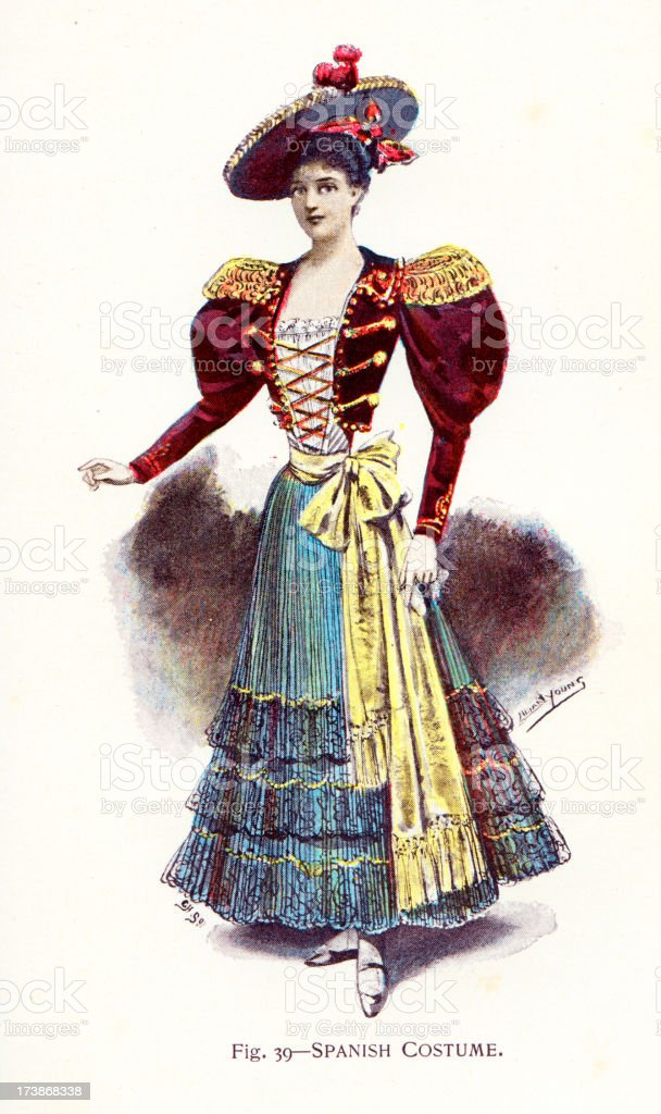 Young Woman in Traditional  Spanish Costume royalty-free stock vector art
