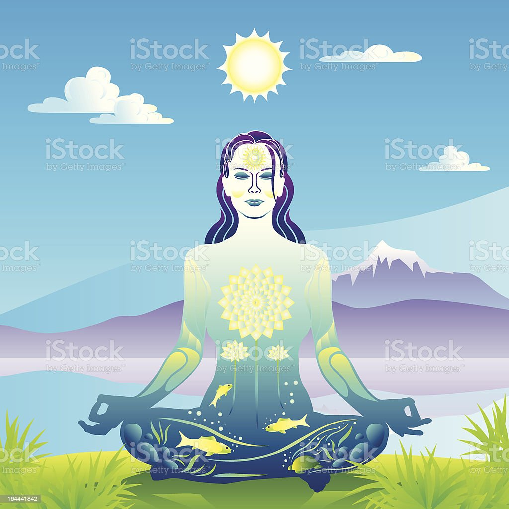 Young woman meditates by the lake and mountains vector illustration vector art illustration