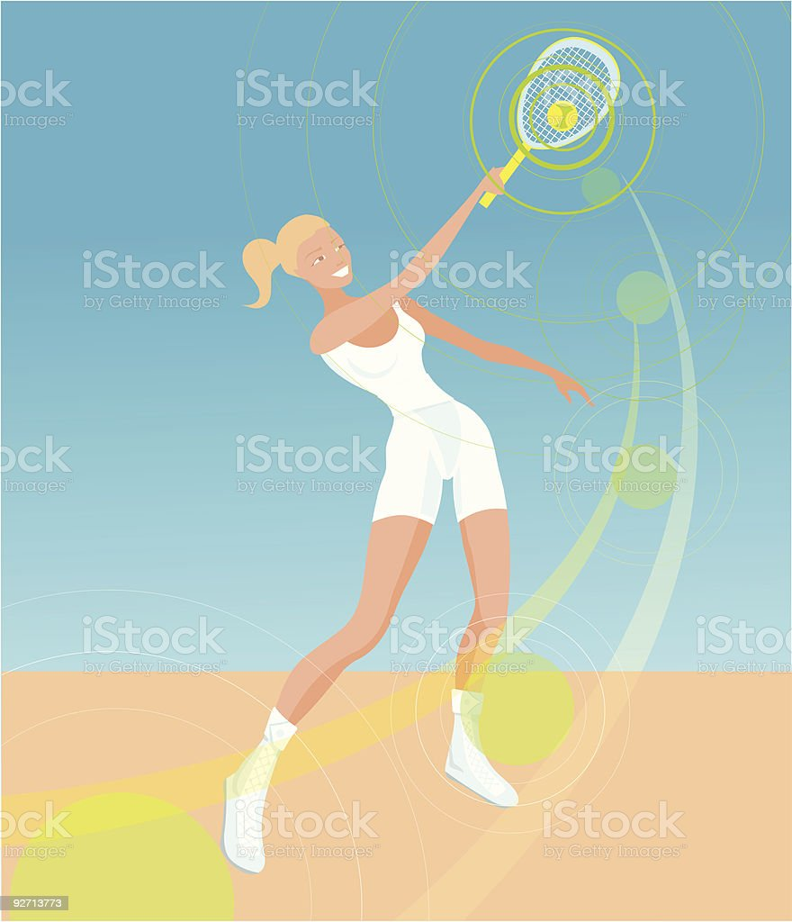 Young woman playing tennis royalty-free stock vector art