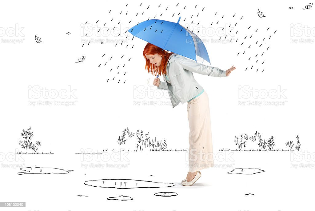 Young Woman Standing in Cartoon Rain and Puddles vector art illustration