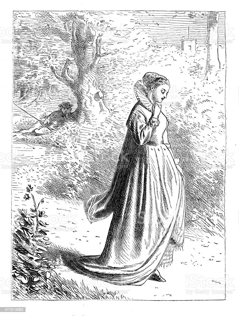 Young Woman  walking through woods man watching her 1867 magazine vector art illustration