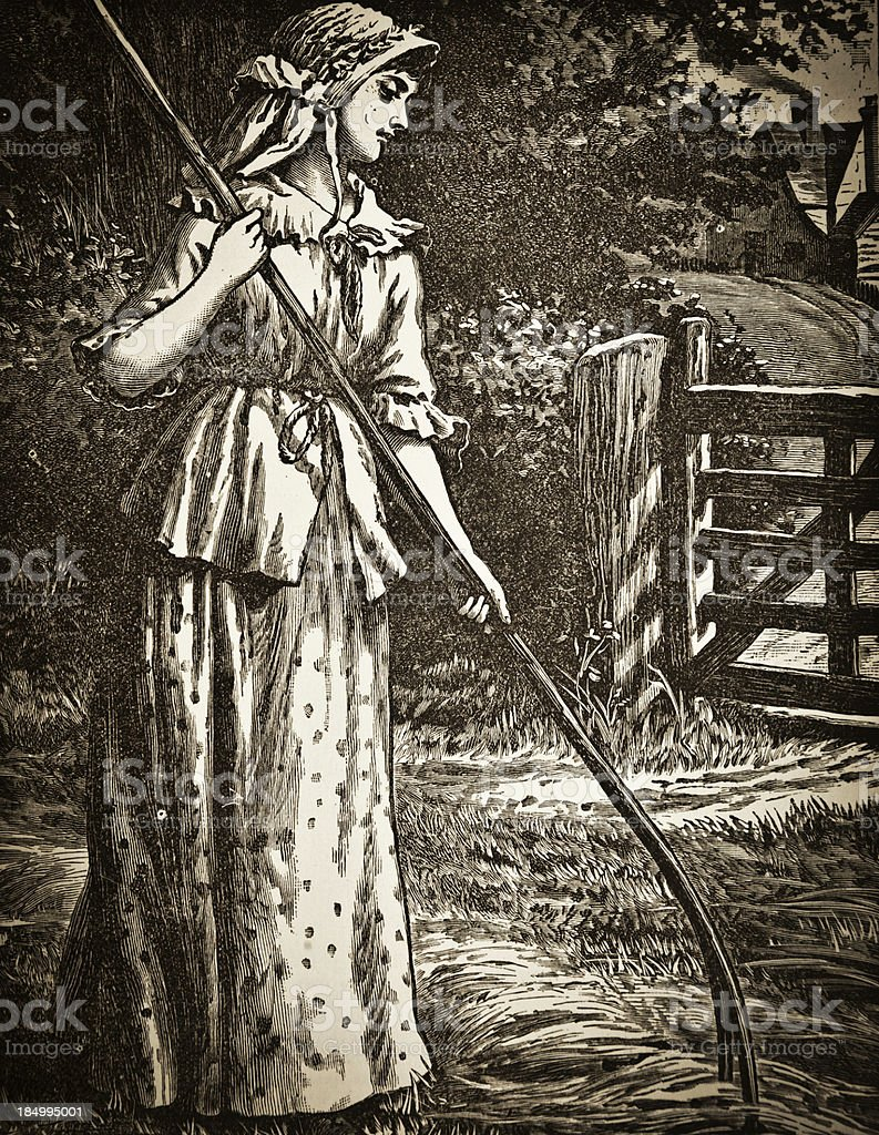 Young Woman Working - Victorian Steel Engraving vector art illustration