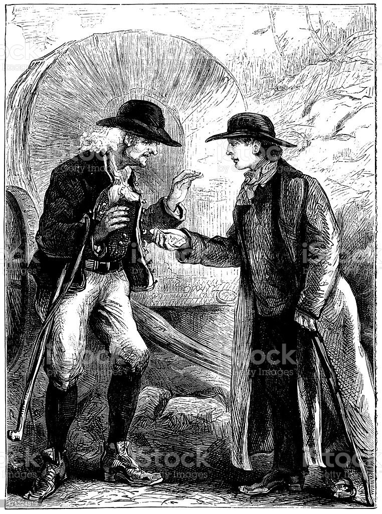 Youth handing over money to an old man (Victorian illustration) vector art illustration
