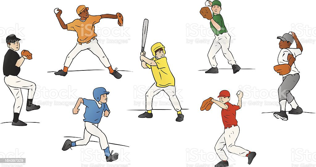Youth League Baseball Players (Vector Illustration) vector art illustration
