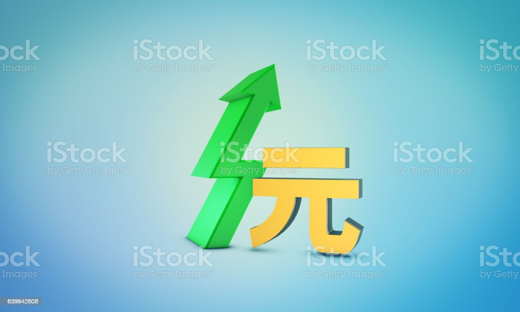 Yuan Growth Symbol - Forex and Bourse Concept vector art illustration