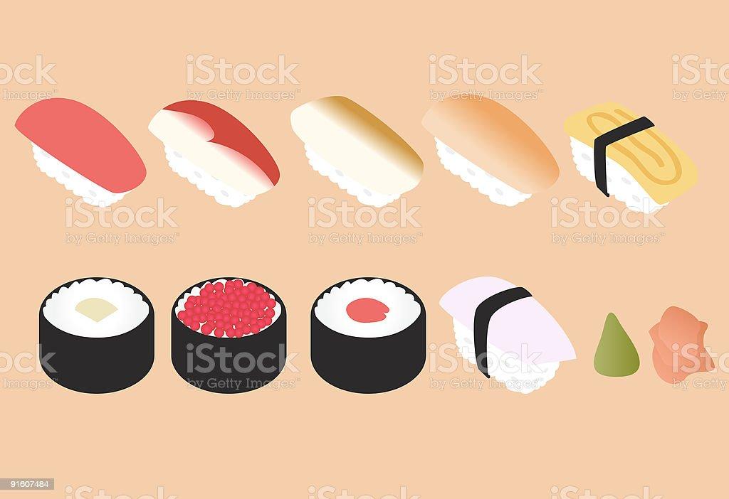 Yummy Sushi Set royalty-free stock vector art