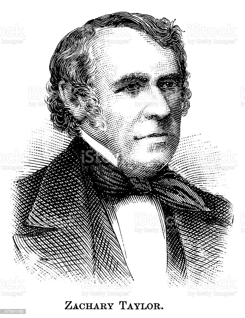 Zachary Taylor - Antique Engraved Portrait vector art illustration