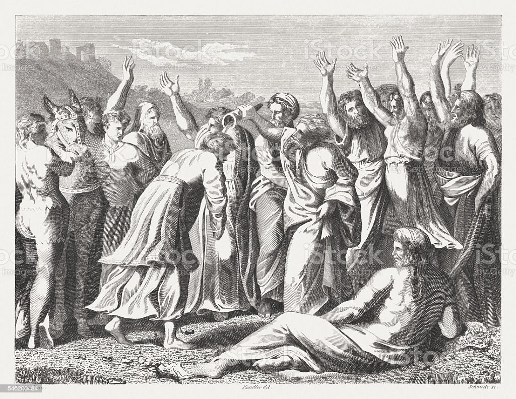 Zadok Anoints Solomon as King (1 Kings 1), published 1841 vector art illustration